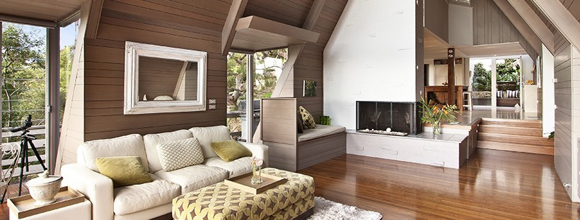 A living room of a modern architectural designed cabin